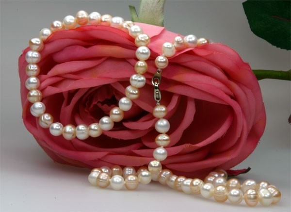 Echtes Zucht-Perlenset weiss-rose 7-8mm Armband Stretch und Kette