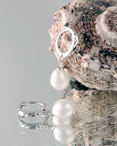 Edle Silberohrringe (925SS) Creolen Perlen P355 Weiss Silberkreolen