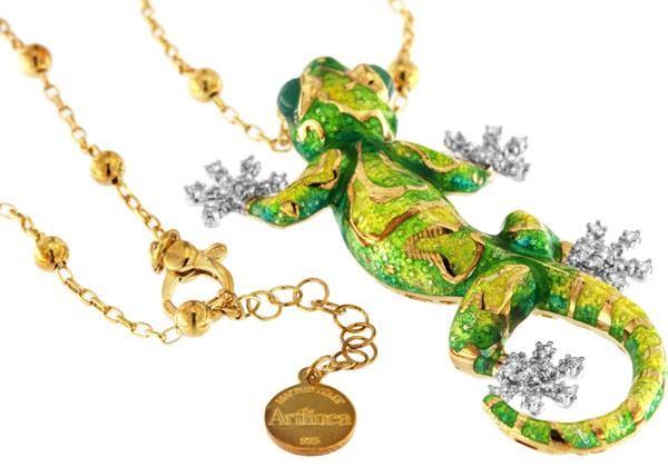 Halskette mit Gecko Anhänger 6.5cm grün in 925 Sterling Silber Rhodiniert mit Zirkonia ZCL1065-MG