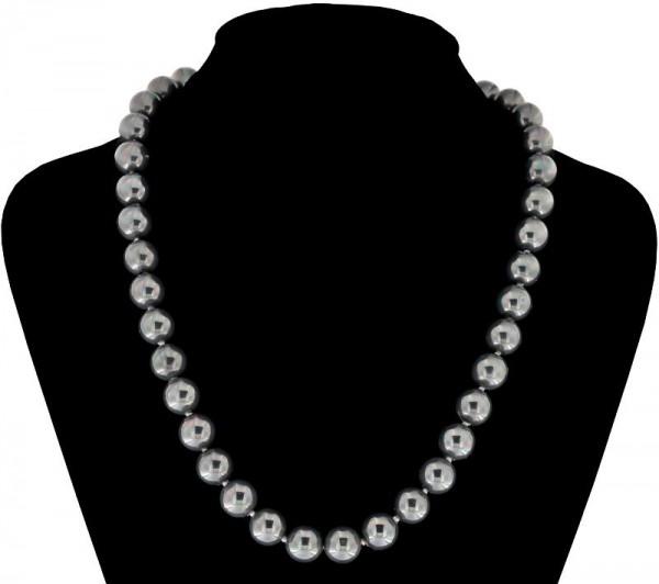 Perlmutt Anthrazit Grau Kette 46cm, ca. 10mm Perlengröße Collier Halskette Mother-of-Pearl MOP06