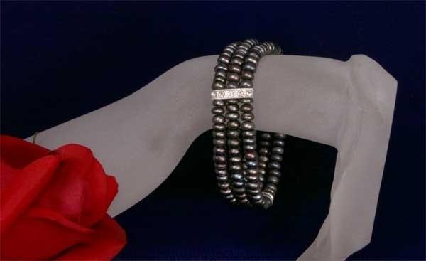 3-reihiges Zuchtperlen Armband Tahiti Schwarz Strass-Steinen A302