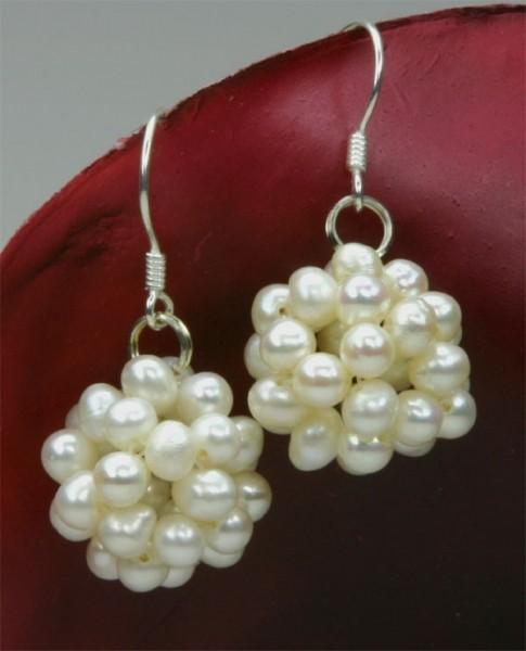 Ohrringe Beerenform Weiss Süsswasser Perlen 925 Silber O103 NEU