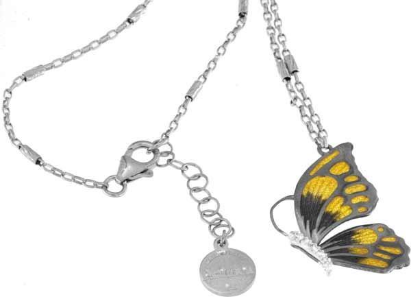 Halskette mit Schmetterling Anhänger 2.0cm Orange in 925 Sterling Silber Rhodiniert mit Zirkonia ZCL