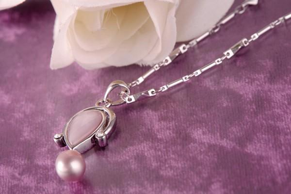 Perlenkette Anhänger Perlmutt mit Süßwasserzuchtperle Hellviolett versilbert rhodiniert P182