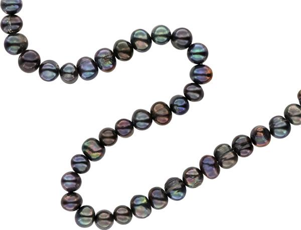 Premium Perlenstrang Echter Zucht-Perlen-Strang in Tahiti Black Violett ca. 37cm - rundliche Perlen 8-9mm mit schönem Lüster